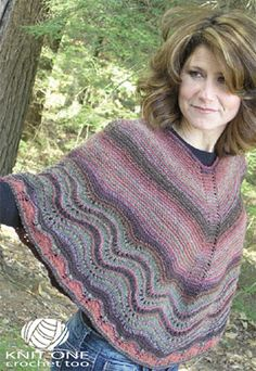 Knit One Crochet Too 1958 - Ripping Colors Poncho PDF Download 400 yds x 2 colours = approx 800 yds total. Not on Ravelry. Available thru elann
