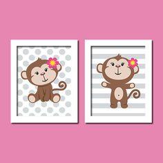 Cute Baby Girl Monkey Theme Lavender Purple Polka Dot Stripe Set of 2 Prints Nursery Crib Bedding Bathroom Wall Art Decor Picture GIrl Gift via Etsy Monkey Room, Monkey Nursery, Monkey Girl, Nursery Crib, Girl Nursery, Crib Bedding, Nursery Artwork, Girl Room, Cute Baby Girl