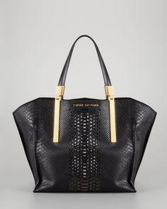 ZAC Zac Posen Danes Dry Python-Print Small Shopper Bag, Black - Neiman Marcus