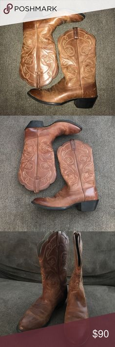 Ariat boots, size 7.5 Ariat boots, tan/brown, size 7.5. Floral stitching. Very versatile! There's a few scuffs from just being worn in, but they're still in great condition and very comfy. Make an offer for me! Ariat Shoes