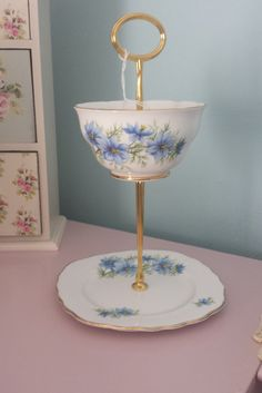 Vintage cake stand, jewellery stand, vintage china 2 tier stand, mad hatter style, tea party, wedding, home decor, gift for her. - pinned by pin4etsy.com