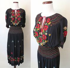 "Amazing Hand Embroidered 1920's / 1930's Deep Blue Hungarian Peasant Style ""Youth"" Dress with Hand Smocking Size-Medium on Etsy, $698.00"