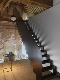Tagged: Staircase, Metal Tread, and Metal Railing. Photo 170 of 609 in Best Staircase Photos from This Chapel-Turned-Office in Belgium Is Unbelievably Cool Loft Stairs, House Stairs, Modern Staircase, Staircase Design, Staircase Metal, Stair Design, Casa Loft, Stair Lighting, Stairs Architecture