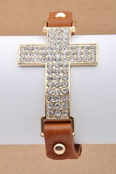 Dottie Couture Boutique - Rhinestone Cross Bracelet- Camel, $14.00 (http://www.dottiecouture.com/rhinestone-cross-bracelet-camel/)
