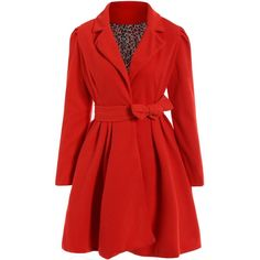 Noble Turn-Down Collar Long Sleeve Pure Color Self Tie Belt Women's... ($5.99) ❤ liked on Polyvore featuring dresses, red coat dress, long sleeve collared dress, tie belt, red dress and collared dresses