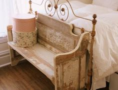 Nice idea for bedroom seating to get your shoes and socks on!