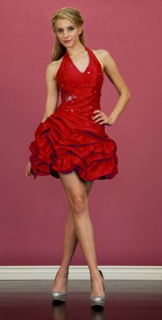 Taffeta Red Dress Ruched Short Plus Size Halter Pleated Bodice