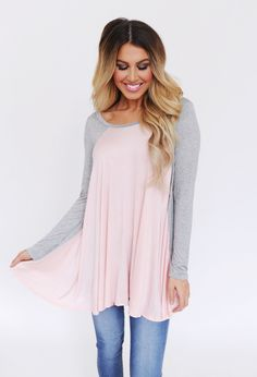 Long Sleeve Baseball Tunic- Blush/Grey - Dottie Couture Boutique