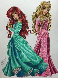 Ariel & Aurora - Disney Princess Drawings by Max Stephen