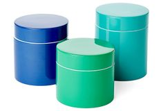 One Kings Lane - Best Supporting Accents - Ocean Lacquer Jars, Asst. of 3