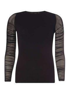 Black Mesh Sleeve Top