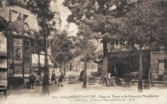 place du Tertre - Paris 18e Montmartre - ce même coin Nord-Ouest de la place du Tertre (ancienne carte postale - vers 1900)