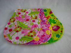 Frogs & Bubbles  Burp Cloth  set of 3  flannel  by Sewanutter, $14.25