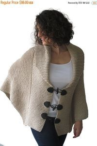 WINTER SALE 20% Plus Size Hand Knitted Ecru Poncho with by afra