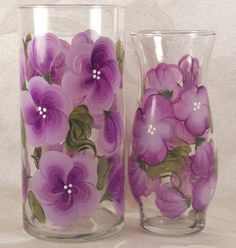Hand Painted Vases  Blossoms  Lilac 2 by EverMyHart on Etsy, $29.95… Cute gift idea!