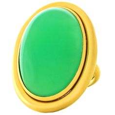 1960s Huge Cabochon Chrysoprase Gold Cocktail Ring. Circa 1960s, 18k, Swiss. An immense and luminous green chrysoprase cabochon is the heart of this striking modernist ring. Its understated 18k yellow gold mounting contrasts subtly with the daringly large stone, the contradictory elements inexplicably coming together in simple harmony for a look that is easy, breezy chic! Finely constructed in the Swiss tradition, this ring is in excellent condition.