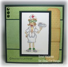 Nurse Stella nursing school congratulations card.  Image from I Brake For Stamps. (great for Get Well too!)