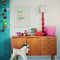White, color & wood kids room