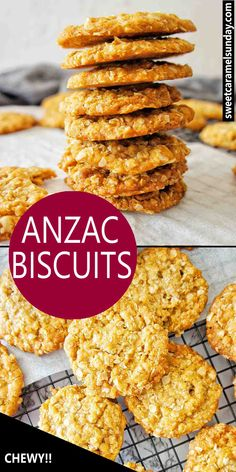 Anzac Biscuits are a delicious sweet biscuit made from ingredients including oats and golden syrup. Also known as Rolled Oat Biscuits or Soldier's Biscuits. Chewy Anzac Biscuits Recipe, Anzac Cookies Recipe, Oat Cookies, Easy Cookie Recipes, Fudge Recipes, Baking Recipes, Baking Ideas, Cake Recipes, Aussie Food
