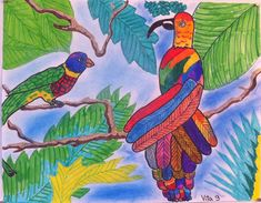 Art Room Britt: Observational Drawing: Rainforest Composition with Tropical Birds Birds For Kids, Art For Kids, Projects For Kids, Art Projects, Rainforest Birds, Composition Drawing, Observational Drawing, 4th Grade Art, Tropical Birds