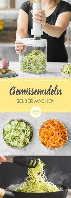 Ob lange Zucchini-Spaghetti oder breite Möhrenbandnudeln – der elektrische Spiralschneider von Kitchen Crew verwandelt fast jedes Gemüse zuverlässig in knackige Spiralen für Salat, Pfannengerichte oder Suppen – und das per Knopfdruck.