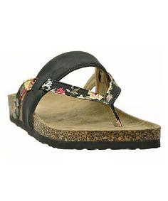 Loving this Nicola Black Floral Strappy Sandal on #zulily! #zulilyfinds