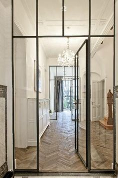 See more glass door ideas, Home ideas and Barn doors Industrial chic barn style sliding doors with rippled glass panes allow privacy but still allow Doors Interior, House Design, New Homes, Steel Windows, House, Home, Home Decor, Steel Doors And Windows, Steel Doors