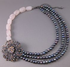 """Pearls & Pink - Beaded Necklace.  I don't know how to """"weight"""" these so the flower stays on the side when being worn and doesn't fall to the front."""