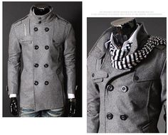 Mens Trench Coat Double Breasted Slim Stand Collar Wind Jacket Woolen