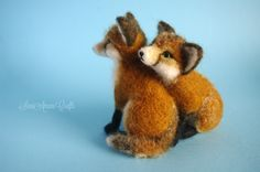 Needle felting - two red fox cubs
