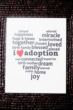 "I <3 Adoption Subway Art Print. 8x10"" $10.50 a must have for any family touched by the miracle of adoption. #adoption"