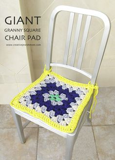 Giant Granny Square Chair Pad - free crochet pattern for T-shirt yarn from Creative Jewish Mom.