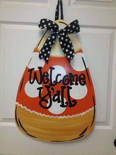 Candy Corn Door Hanger Halloween Door Hanger by SouthernStyleGifts