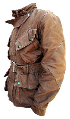 "Mulholland Master BROWN motorcycle riders jacket. Barbour/Belstaff/ISDT style. An original MFSC, inspired by our vintage influences.   FABRIC: Originally developed for the US Navy and officially called ""Jungle Cloth"". A sturdy 100% cotton 'gros grain' type cloth, tightly woven for wind proofing and with water repellent qualities. It can be individually waxed with adequate wax dressing, to add to the water proofing quality."