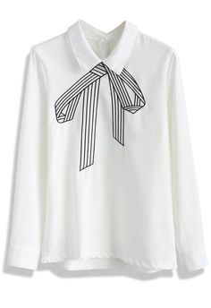 Stitch a Bow Chiffon White Top - Tops - Retro, Indie and Unique Fashion