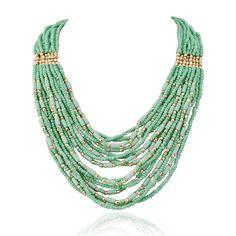 Jane Stone Collier Plastron Perles de Rocaille Chaine Multi Rangs Personnalite Femme: Amazon.fr: Bijoux