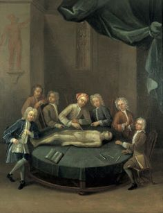 La Autopsia en el Arte: William Cheselden dando una lección de anatomía en el anfiteatro de la Compañía de Barberos y Cirujanos de Londres. (1730-1740)