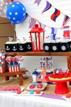 Nautical themed 4th of July Party with Such Darling Ideas via kara's party ideas