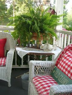 Red and white porch. Red and white porch. Cottage Porch, Red Cottage, Cottage Style, Outdoor Rooms, Outdoor Living, Outdoor Furniture Sets, Outdoor Decor, White Porch, Decks And Porches