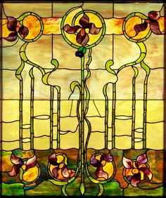 Floral Stained Glass    Art Nouveau stained glass window from the collection of the Smith Museum of Stained Glass at Navy Pier in Chicago, Illinois.