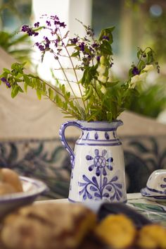 The Artichoke design is our newest #design. It features a stylised #artichoke motif in blue, with a matching blue borders. All our ceramics are #handmade and #handpainted by our #artisans here in the #Algarve Available from www.porchespottery.com  #wildflowers #flowers