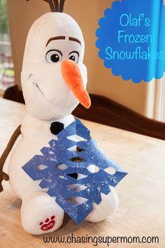 olaf, paper snowflakes, frozen snowflakes, frozen crafts