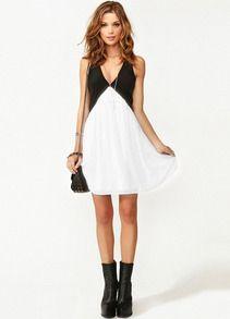 Black White Deep V Neck Hollow Chiffon Dress - Sheinside.com