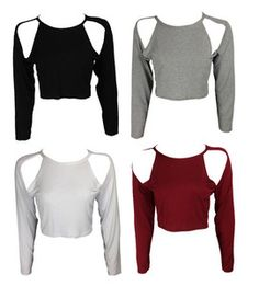 NEW BLACK GREY WHITE SHOULDER CUT OUT LONG SLEEVE JERSEY TEE CROP TOP SIZE 8-14   eBay