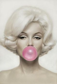 Pink bubble gum. Marilyn Monroe by Michael Moebius