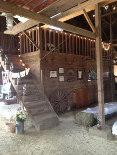 guest book area in a barn with loft