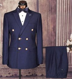 Gender: Men Item Type: Suits Front Style: Flat Fit Type: Skinny Pant Closure Type: Zipper Fly Closure Type: Double Breasted Material: Rayon,Polyester Clothing L Navy Blue Prom Suits, Blue Black Suit, Dark Blue, Mens Fashion Suits, Mens Suits, Double Breasted Suit Men, Fancy Suit, Groom Tuxedo, Groom Suits