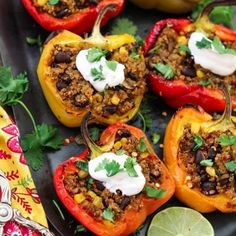 Santa Fe Quinoa Stuffed Peppers (Vegan + GF) Looking to spice up your weeknight menu? These vegan Quinoa Stuffed Peppers are Savory, smoky, subtly sweet & satisfying. Gluten-free too! Santa Fe, Healthy Foods To Eat, Healthy Eating, Clean Eating, Healthy Dinners, Quinoa Stuffed Peppers, Home Health Remedies, Eating Organic, Vegan Recipes