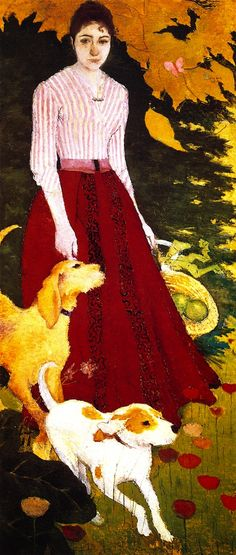 Andrée Bonnard with her Dogs (Pierre Bonnard - )