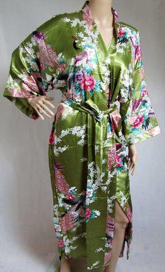 Green Silk LONG Bathrobe House coat kimono by ABespokeTouch